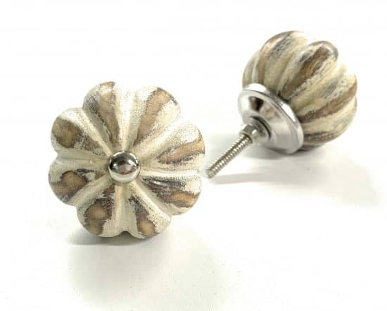 Brown cream melon wood knob for drawers and cabinets