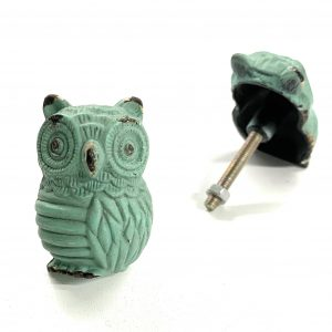Green Blue Owl Knob for drawers and cabinets
