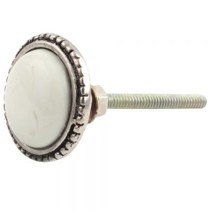 Cream and silver ceramic knob for drawers and cabinets