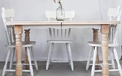 Upgrade a kitchen table set Shabby chic style