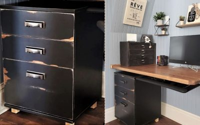 Upgrade a new melamine filing cabinet to give it an old look
